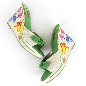 Bongo Embroidered Wedge Sandals Floral Green 10M